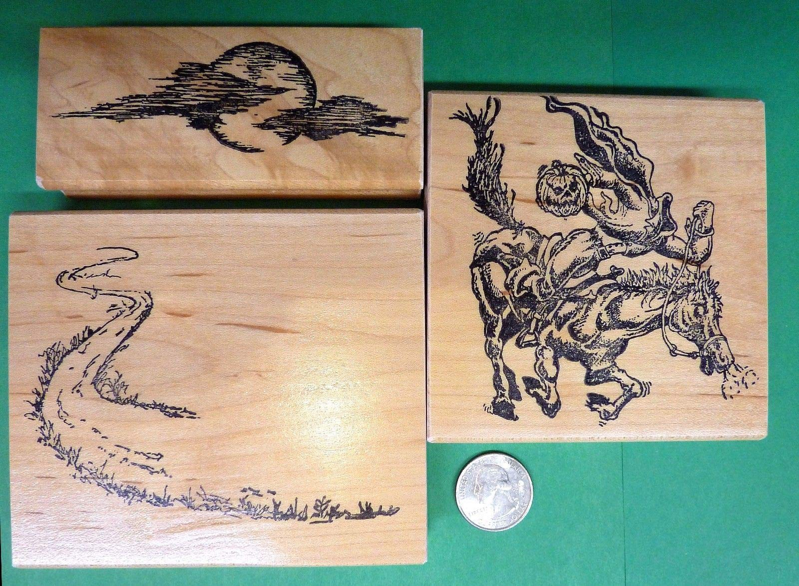 Quality Custom Rubber Stamps Headless Horseman Wood Mounted Rubber Stamp Set of 3 Pieces, Halloween Carved Wooden Stamps by Wood Stamp