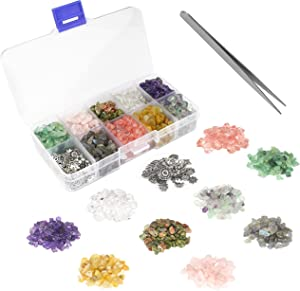 1000 Pcs Chip Gemstone Beads Healing Crystals Crushed Irregular Shaped Beads with Box for Jewelry Making