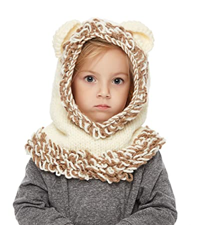 c8aa8c509cf Image Unavailable. Image not available for. Color  Sumolux Winter Kids Warm Fox  Animal Hats Knitted Coif Hood ...