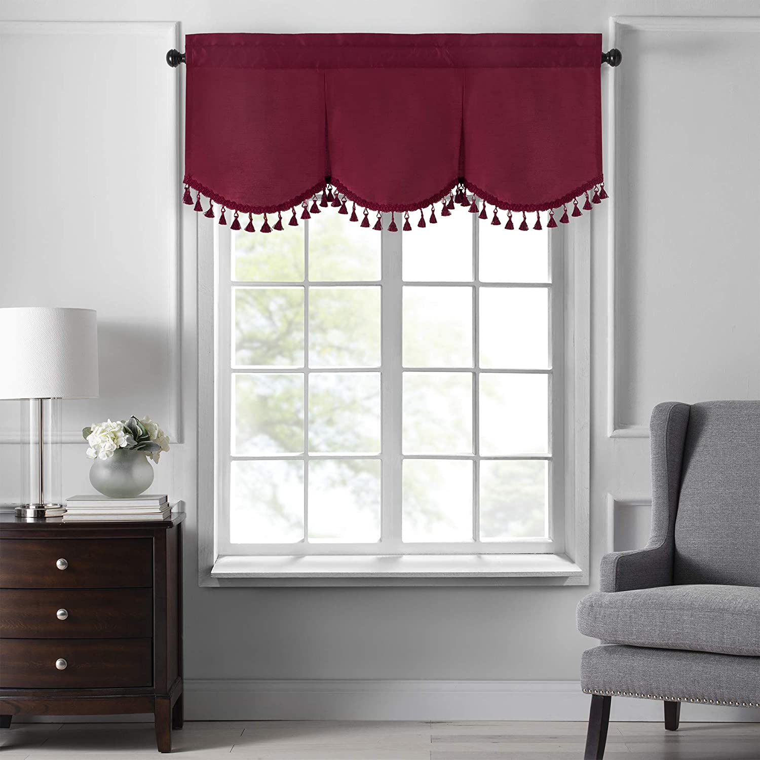 """Elrene Home Fashions Colette Faux Silk Tassel Scallop Window Valance, 48"""" x 21"""", Red"""