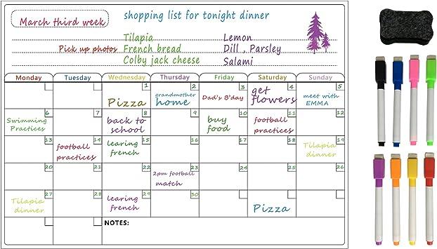 Calendario Planificador semanal Rojo seleccione un mes /& año Almohadilla Magnética Nevera Imán