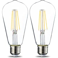AmazonBasics Ampoule à incandescence E27 ST64 style rétro, 60W - Lot de 2