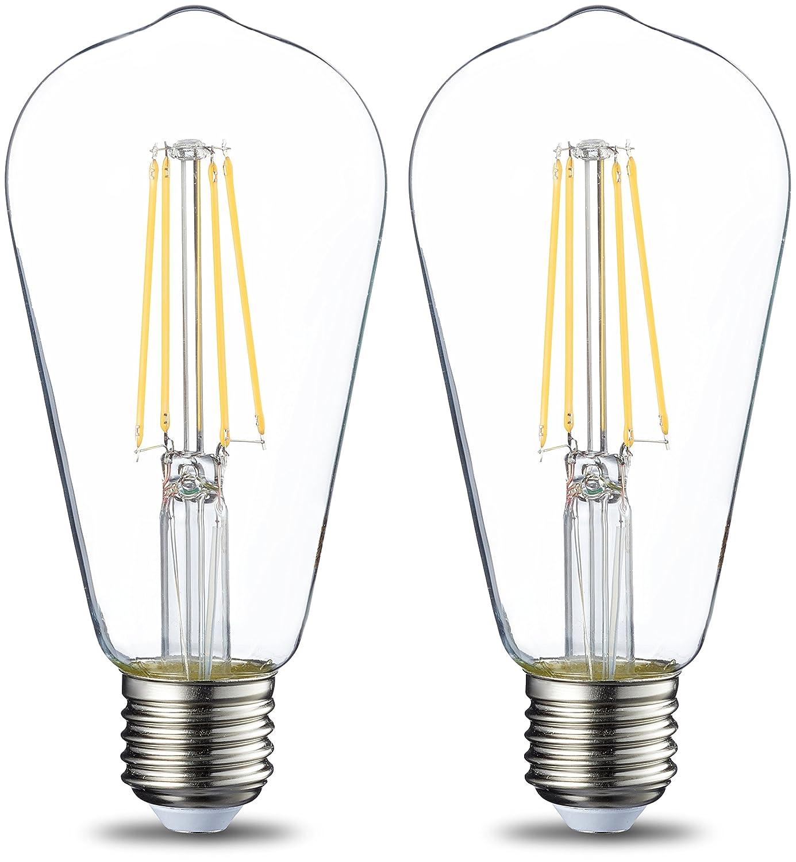 Basics E27 LED Lampe ST64, 7W (ersetzt 60W), klar - 2er-Pack E27 _2_60W ND Edison shape