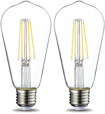 AmazonBasics E27 LED Lampe ST64, 7W (ersetzt 60W), klar - 2er-Pack ...