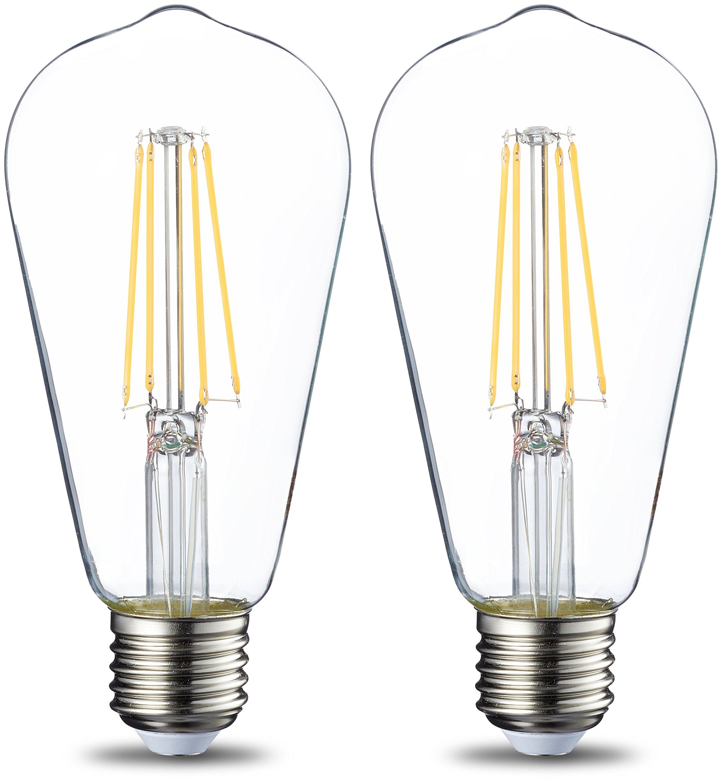AmazonBasics Bombilla LED Esférica E27 Vintage Edison, ST64, 7W (equivalente a 60W)