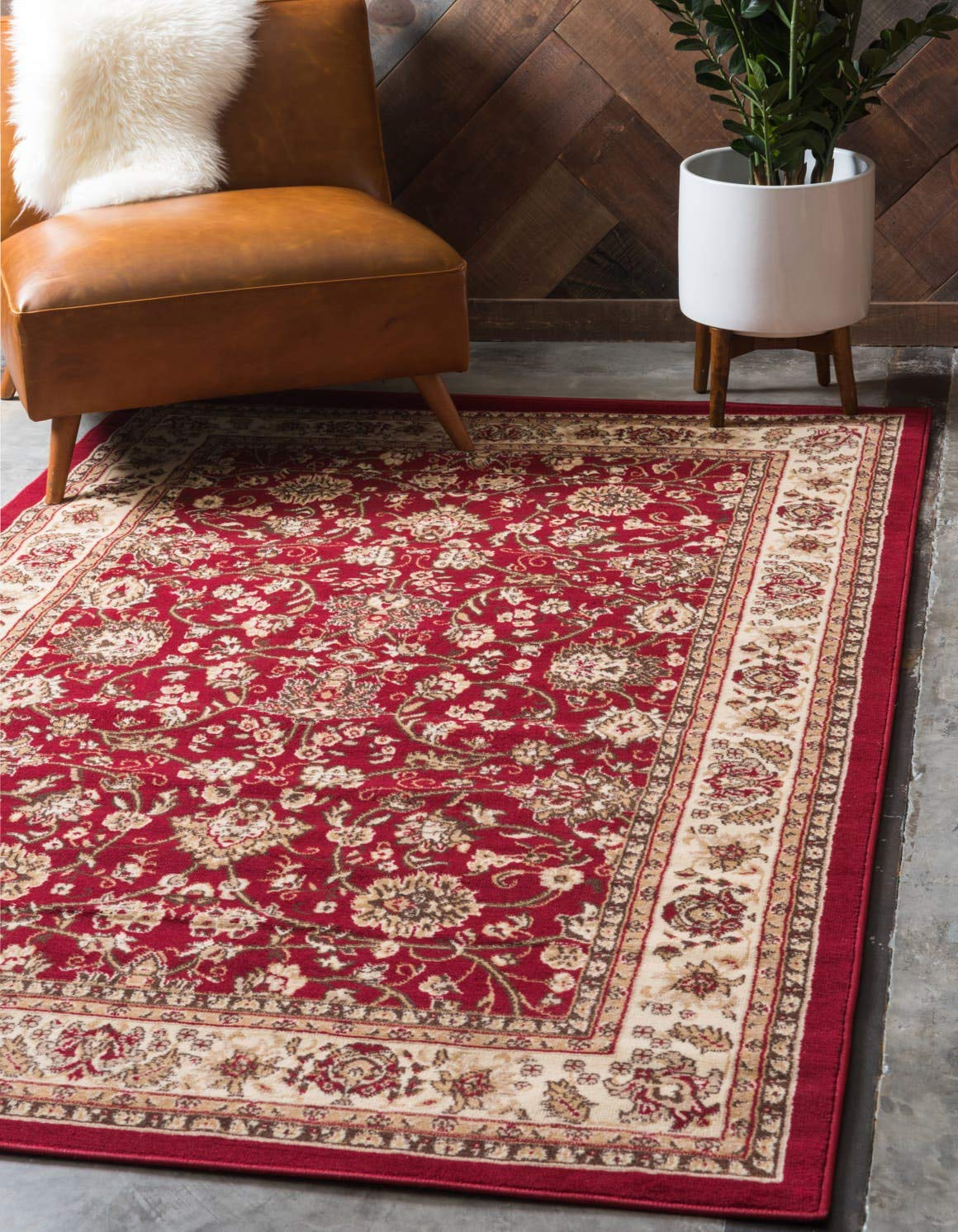 Unique Loom Kashan Collection Traditional Floral Overall Pattern with Border Burgundy Area Rug 5 0 x 8 0