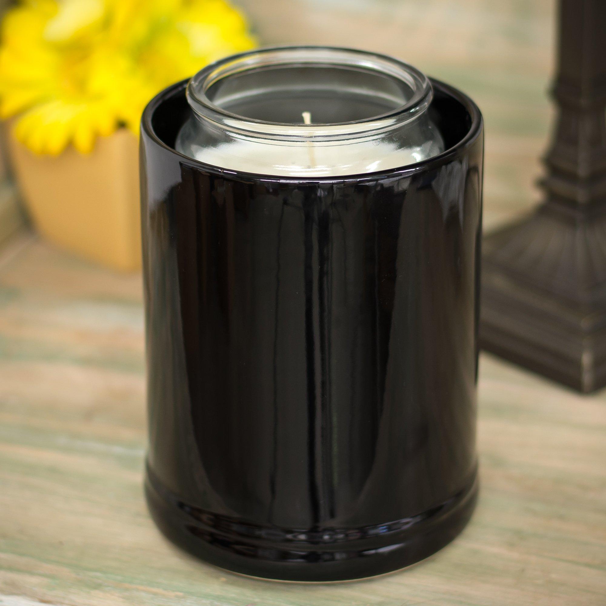 Elanze Designs Glossy Black Ceramic Stoneware Jar Candle Warmer, 2 Pack by Elanze Designs (Image #2)