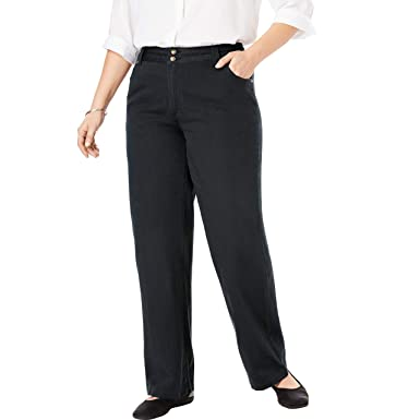 a3514c2a150575 Woman Within Women's Plus Size Wide Leg Cotton Jean at Amazon ...