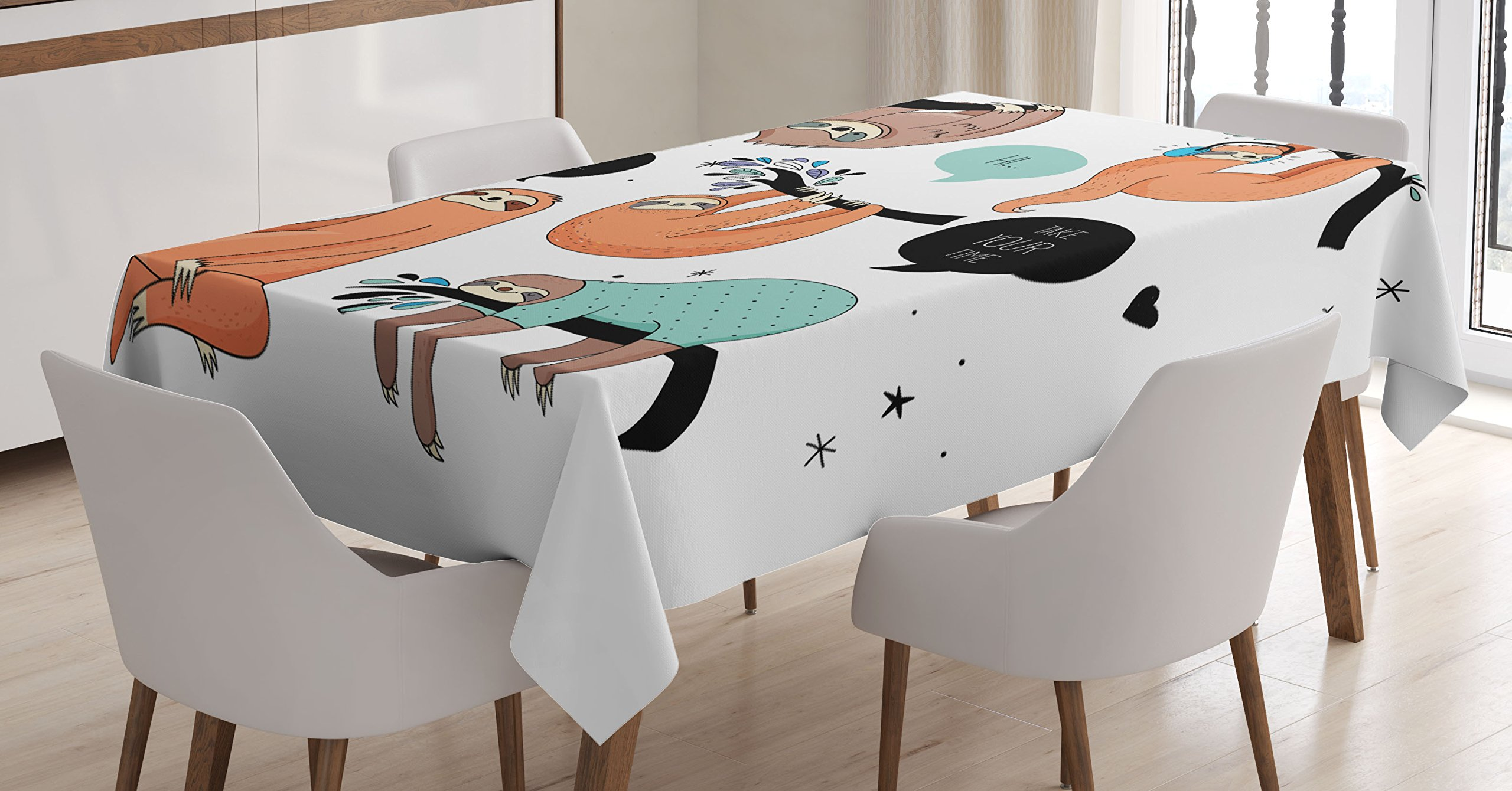 Ambesonne Animal Decor Tablecloth, Cartoon Illustration Tribe of Sloths Smiles Sleeping Lazy Does Yoga with Quote, Dining Room Kitchen Rectangular Table Cover, 60 X 84 inches, Multicolor