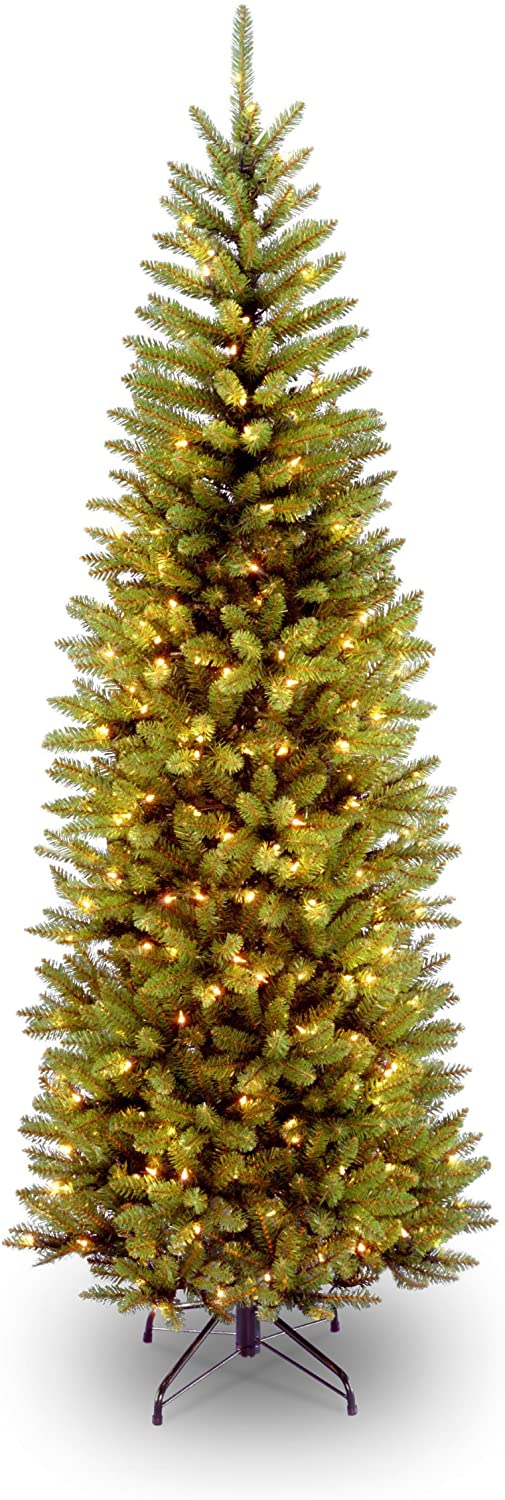 National Tree Company Pre-lit Artificial Christmas Tree | Includes Pre-strung White Lights and Stand | Kingswood Fir Pencil - 6.5 ft