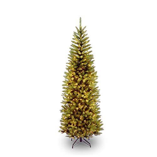 national tree 65 foot kingswood fir pencil tree with 250 clear lights hinged kw7 - Artificial Christmas Trees Amazon