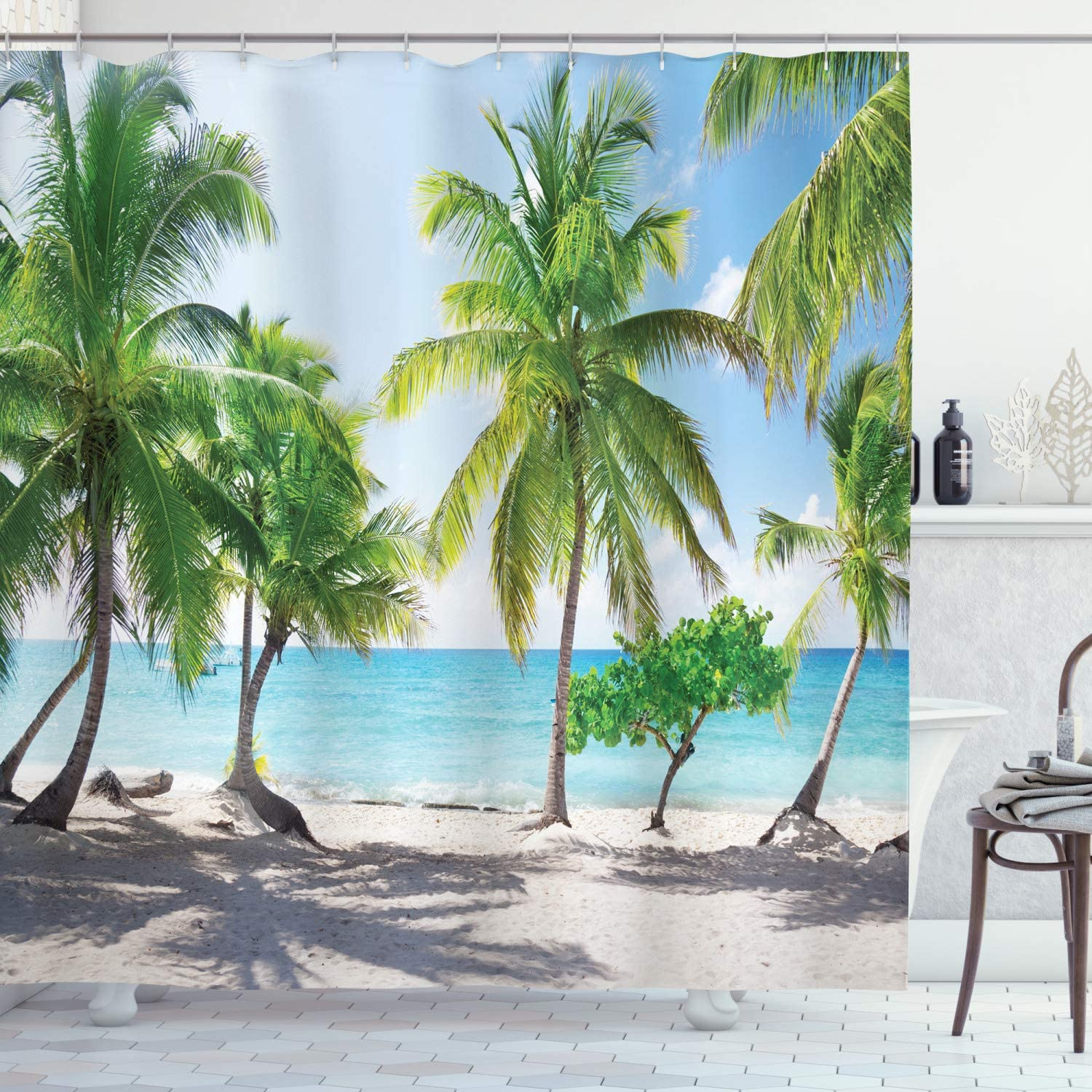 "Ambesonne Beach Shower Curtain, Palm Leaves in Catalina Island Dominic Seashore Coastal Panoramic Picture, Cloth Fabric Bathroom Decor Set with Hooks, 84"" Long Extra, Coconut Green"