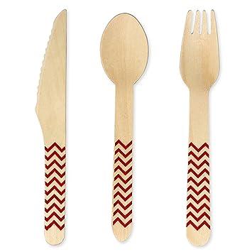 ClayOvenWorkshop - Cubertería de madera desechable (150 piezas, 50 tenedores, 50 cucharas, 50 cuchillos, 160 mm, ecológica, biodegradable, natural/rojo): ...