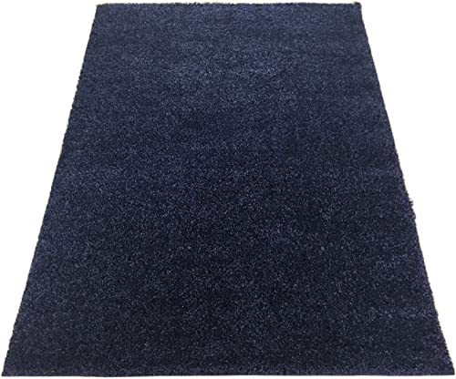 Solid Color New Shag Area Rug Rugs Shaggy Collection Dark Denim Blue