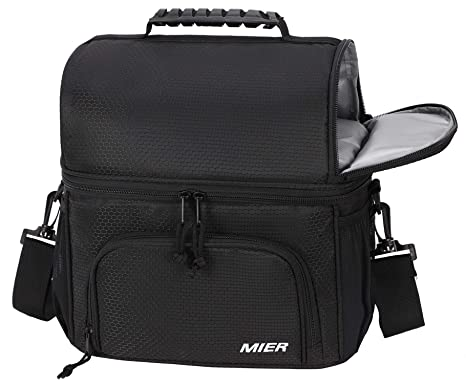 b54682c873ec MIER Dual Compartment Cooler Bag Tote Adult Insulated Lunch Bag for Men  Women, Leakproof Soft Cooler for Kayak, Beach, Travel, Work, Picnic,  Grocery, ...