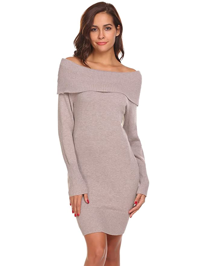 Bifast Women Long Sleeve Sweater Dresses Slim Knit Off Shoulder Sweater Dresses