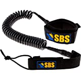 SBS 10' Coiled SUP Leash - GUARANTEED FOR LIFE - Premium Design for Flat & Open Water Stand Up Paddle Board