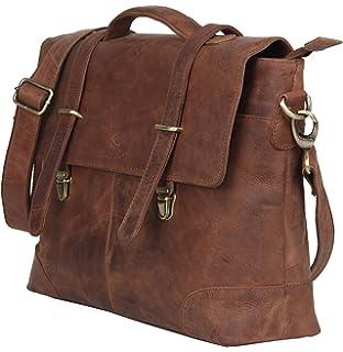 7a40cacbea LEADERACHI Hunter Leather 30 Ltr Dark Brown Laptop Briefcase