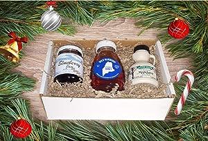 Maine Holiday Jam & Honey Gift Set - Pack of 3 (Jam, Honey, Maple Syrup)