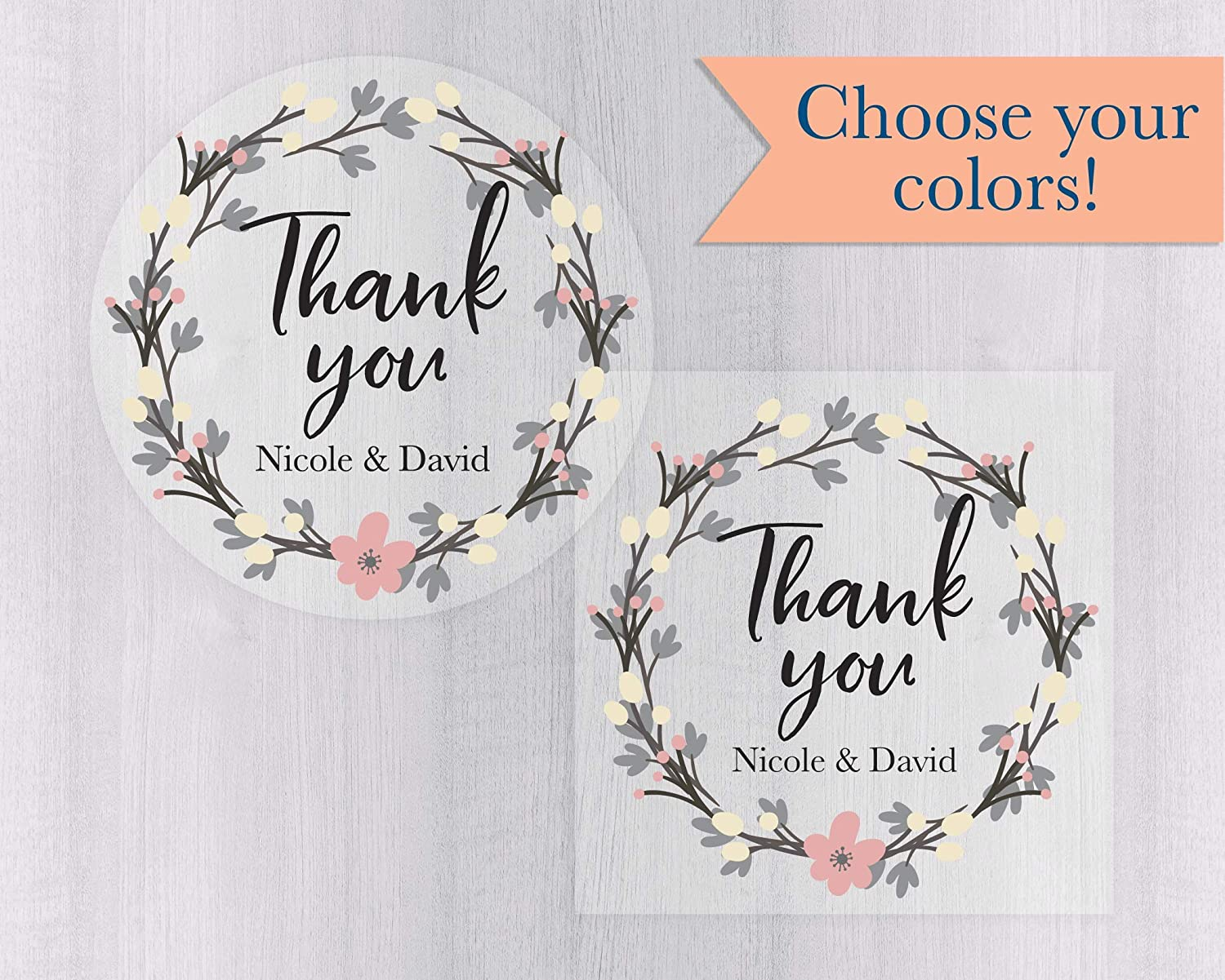 SILVER PERSONALISED THANK YOU WEDDING STICKERS #001 72 LABELS 25MMX50MM WHITE