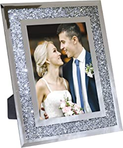 """Decorative Picture Frame 5""""x7"""" Photo Holder Glass Mirror with Sparkling Crystal Boarder. Use Standing with Included Easel or Ready to Hang."""