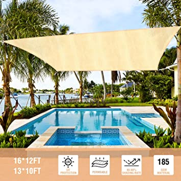 Duerer Toldo Vela de Sombra Rectangular 3x4M, 95% de protección Rayos UV, 185GSM, para Patio, jardín, pérgola, Patio Trasero - Color Arena: Amazon.es: Jardín