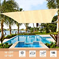 Duerer Toldo Vela de Sombra Rectangular 3x4M, 95% de protección Rayos UV, 185GSM, para Patio, jardín, pérgola, Patio…