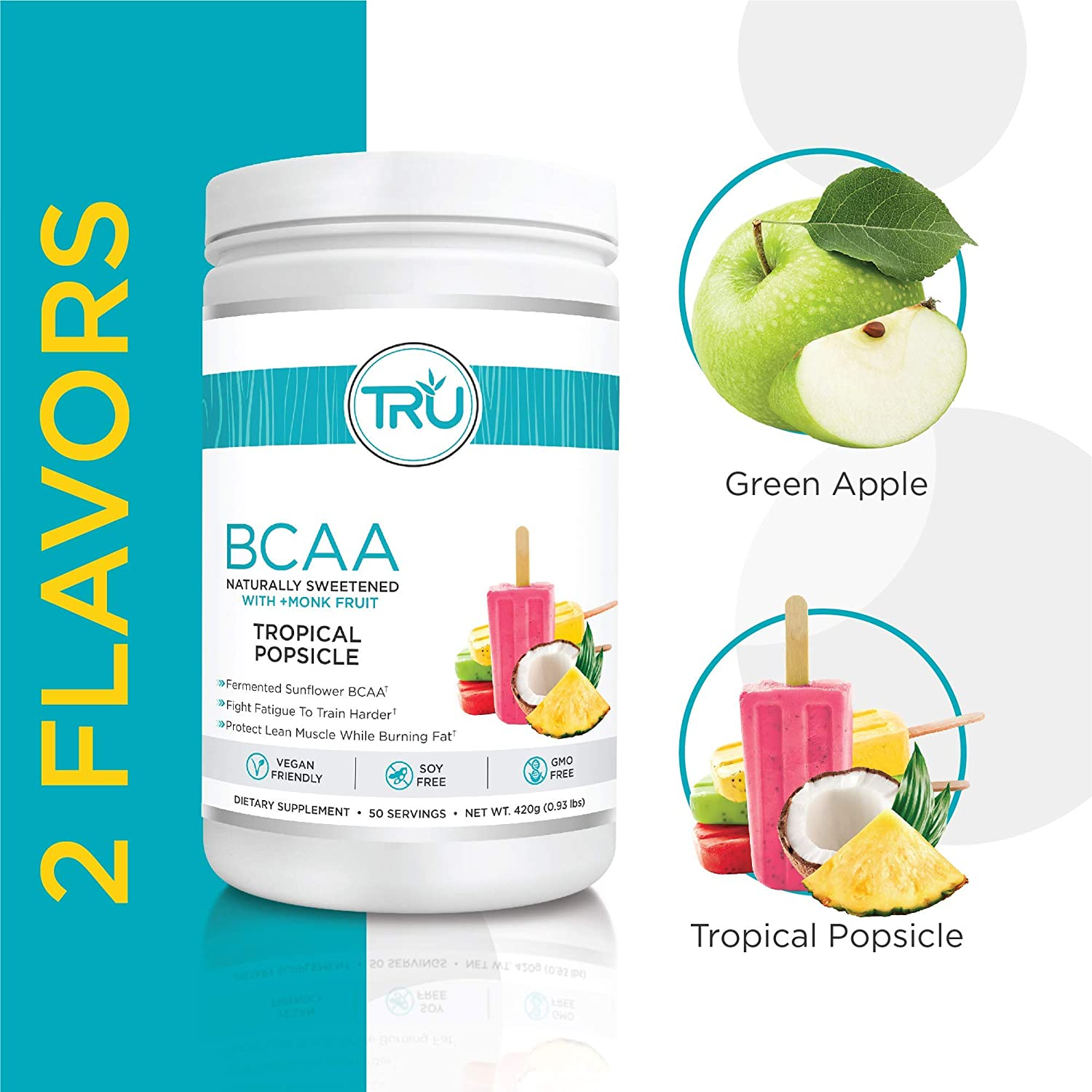 TRU BCAA, Plant Based Branched Chain Amino Acids, Vegan Friendly, Zero Calories, No artificials sweeteners or Dyes, Improve Fat Loss, 50 Servings Tropical Popsicle
