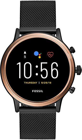 Amazon.com: Fossil Gen 5 Julianna HR Heart Rate Stainless Steel Mesh Touchscreen Smartwatch, Color: Rose Gold, Smoke (Model: FTW6036): Watches