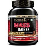 MuscleXP Mass Gainer - With 26 Vitamins & Minerals, Digestive Enzymes, Double Chocolate, 1kg (2.2 lb)