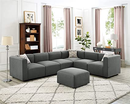 Amazon.com: Steel Grey Modular Sectional Sofas, 5 Seats L-Shape ...