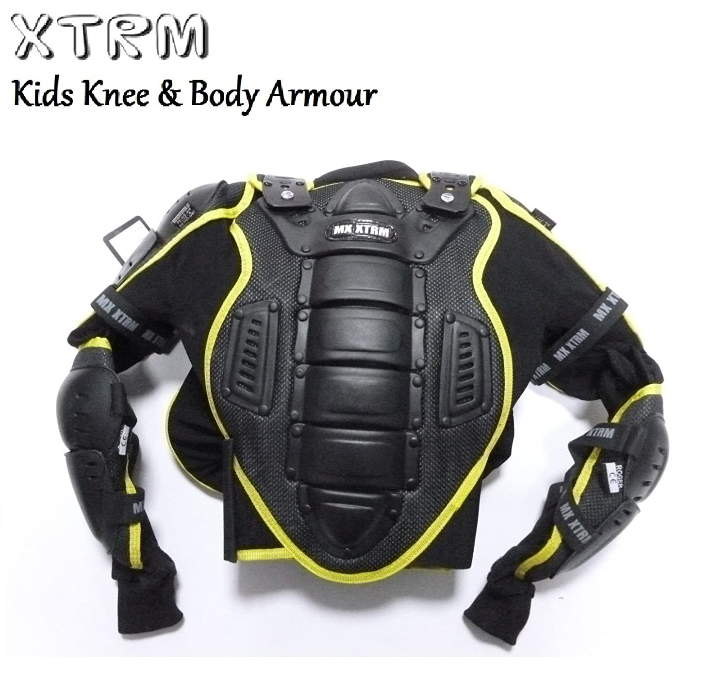 XTRM Kids Body Armour and Knee Guards Motocross Motorbike CE Approved Junior Mx Quad Kart Dirt Bike ATV BMX Racing Childrens Protective Gear