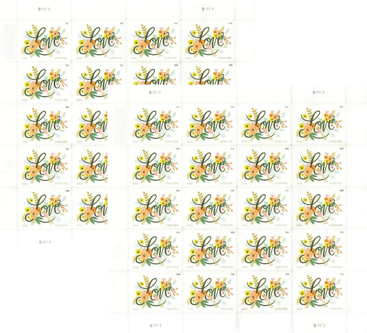 USPS Love Flourishes Forever Postage Stamps (2 Sheet of 20)