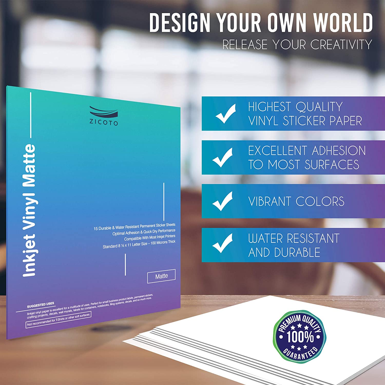 Amazon.com: Papel adhesivo de vinilo para impresoras de ...