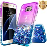 Galaxy Note 5 Case with [Tempered Glass Screen Protector], NageBee Quicksand Liquid Floating Glitter Flowing Sparkle Bling Diamond Luxury Grip Case for Samsung Galaxy Note 5 V SM-N920 -Purple/Blue