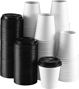 NYHI 10 oz. White Paper Disposable Cups with Black Lids - Hot/Cold Beverage Drinking Cup for Water, Juice, Coffee or Tea - Ideal for Water Coolers, Party, or Coffee On The Go