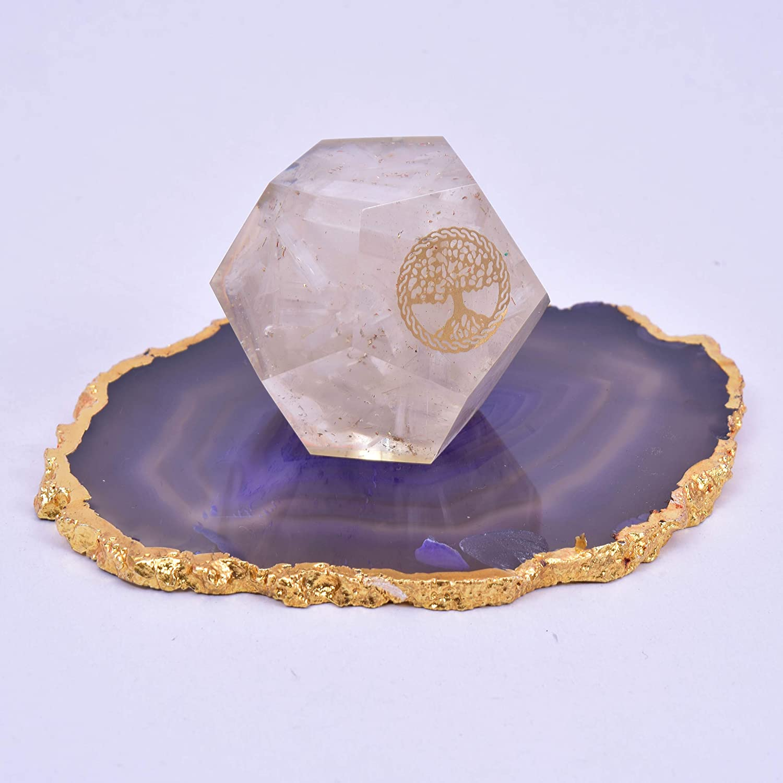 Selenite EMF Protection Orgone Energy Generator Tree of Life Orgonite Dodecahedron Healing Crystal for Chakra Balance
