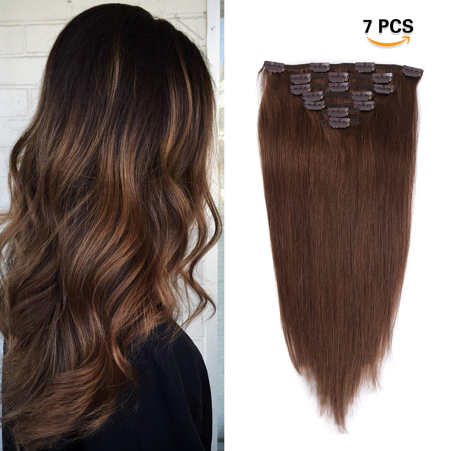 Amazon 16 Inches Clip In Hair Extensions Remy Human Hair 70g