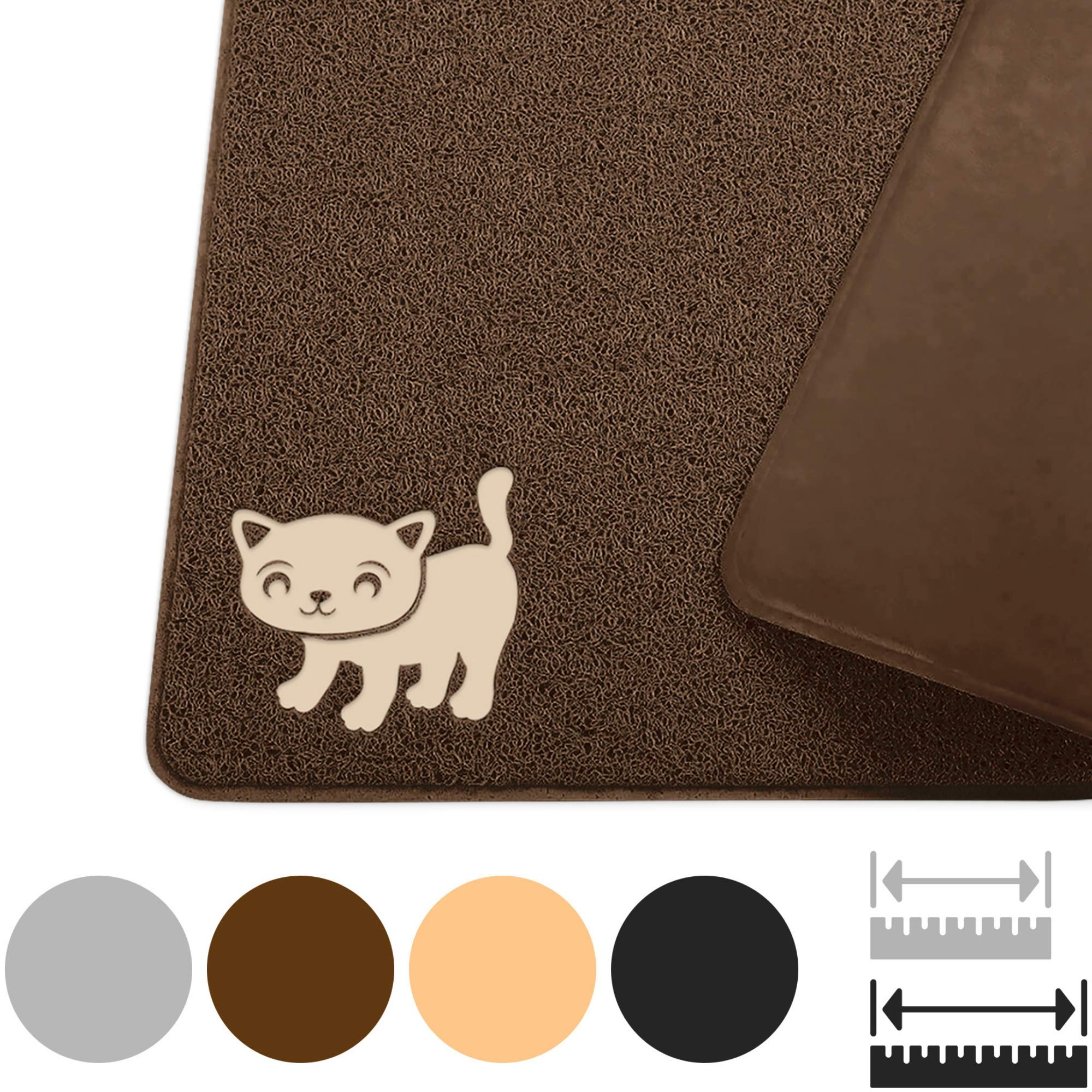 Smiling Paws Pets Premium Jumbo Cat Litter Mat, XL 47'' x 33'', Water Resistant, Effectively Traps Scattered Litter from Cats and Litter Box, Easy to Clean, Soft on Kitty Paws (Brown XXL) by Smiling Paws Pets