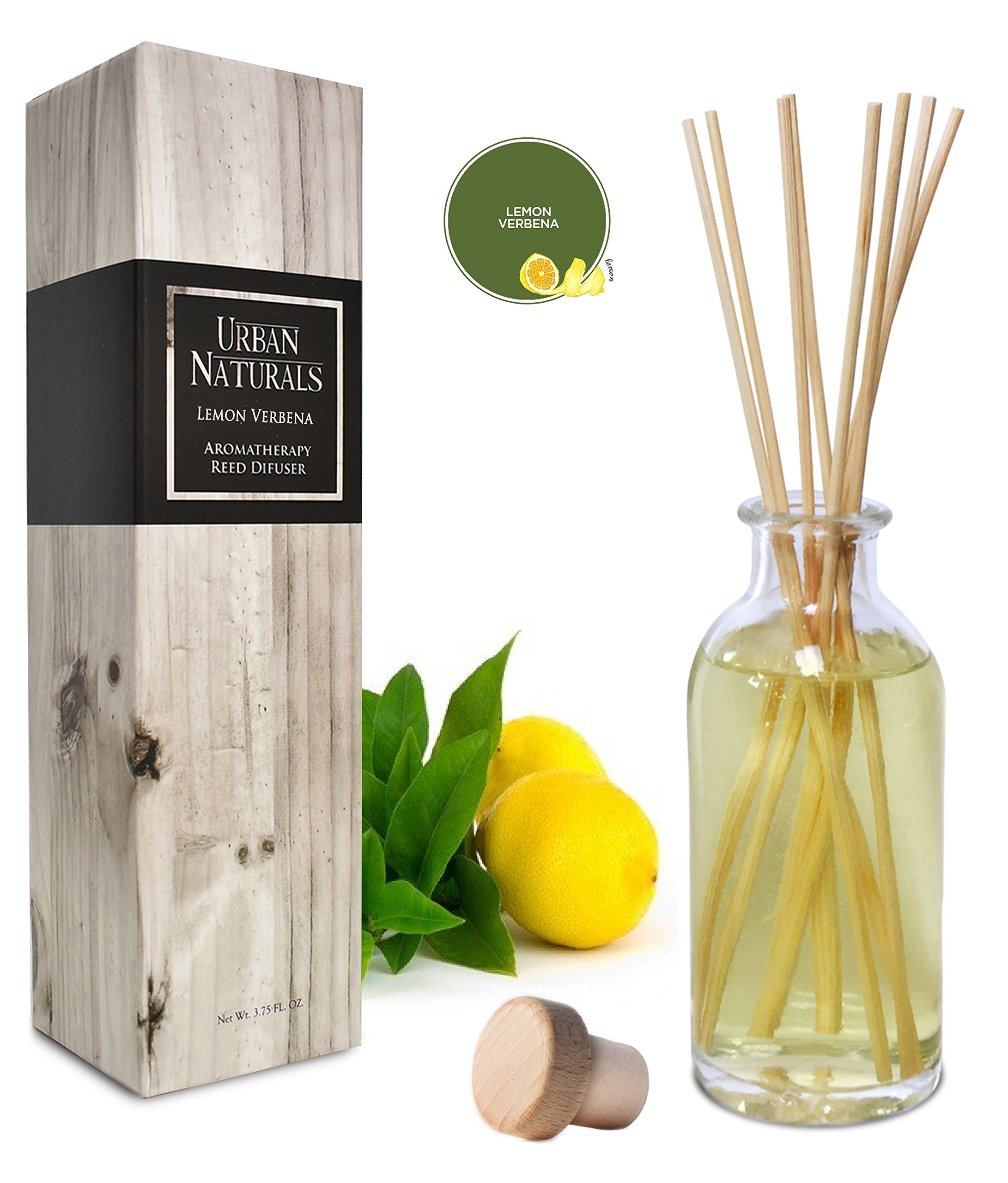 Urban Naturals Lightning Deal Lemon Verbena Reed Diffuser Oil Set Reed Sticks | Tart, Citrus Fruity Notes Bergamot & Greens | Makes a Cheerful Gift Idea | Made in The USA