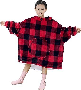 Hoodie Blanket for Children Print Sweatshirt with Front Big Pocket Oversized Soft Warm Wearable Blanket for Kids Boys Girls