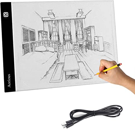 Aorious A4 LED Tracing Light Box Ultra-Thin Artcraft Tracing Light Pad Dimmable Brightness USB Powered Artists Light Box for Animation Sketching Drawing