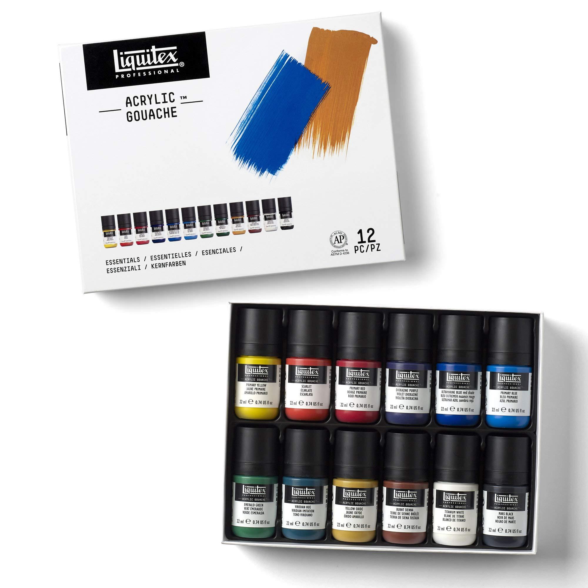 Liquitex 3699325 Professional Acrylic Gouache Paint Set Essentials 22ml 6 Colors