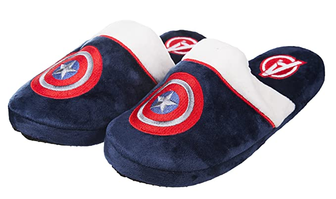 Captain America Marvel Mule Slippers, Azul, 5-7 UK