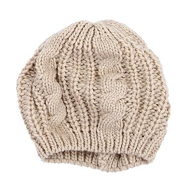 bf92cc85a70b Béret Bonnet Chapeau Laine Femme Fille Hiver Chaud Tricotage Crochet Coton  Cap Beige