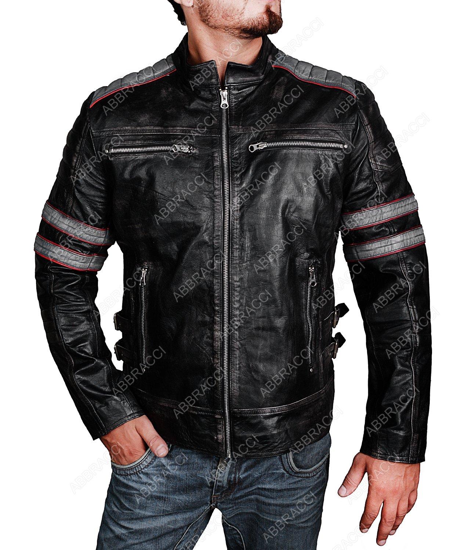 Abbracci Men Retro Distressed Vintage Motercycle Red Stripe Biker Genuine Leather Jacket (Small, Black) by Abbracci