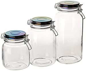 Circleware 68226 Storage Staples Glass Canisters with Swing Top Rainbow Airtight Locking Lids Set of 3 Kitchen Food Preserving Containers for Coffee, Sugar, Tea, Cereal, 71 oz, 50 oz, 35 oz, Hermetic