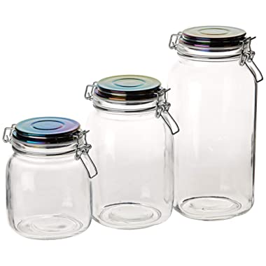 Circleware 68226 Storage Staples Glass Canisters with Swing Top Rainbow Airtight Locking Lids Set of 3 Kitchen Food Preserving Containers for Coffee, Sugar, Tea, Cereal 71 oz, 50 oz, 35 oz Hermetic