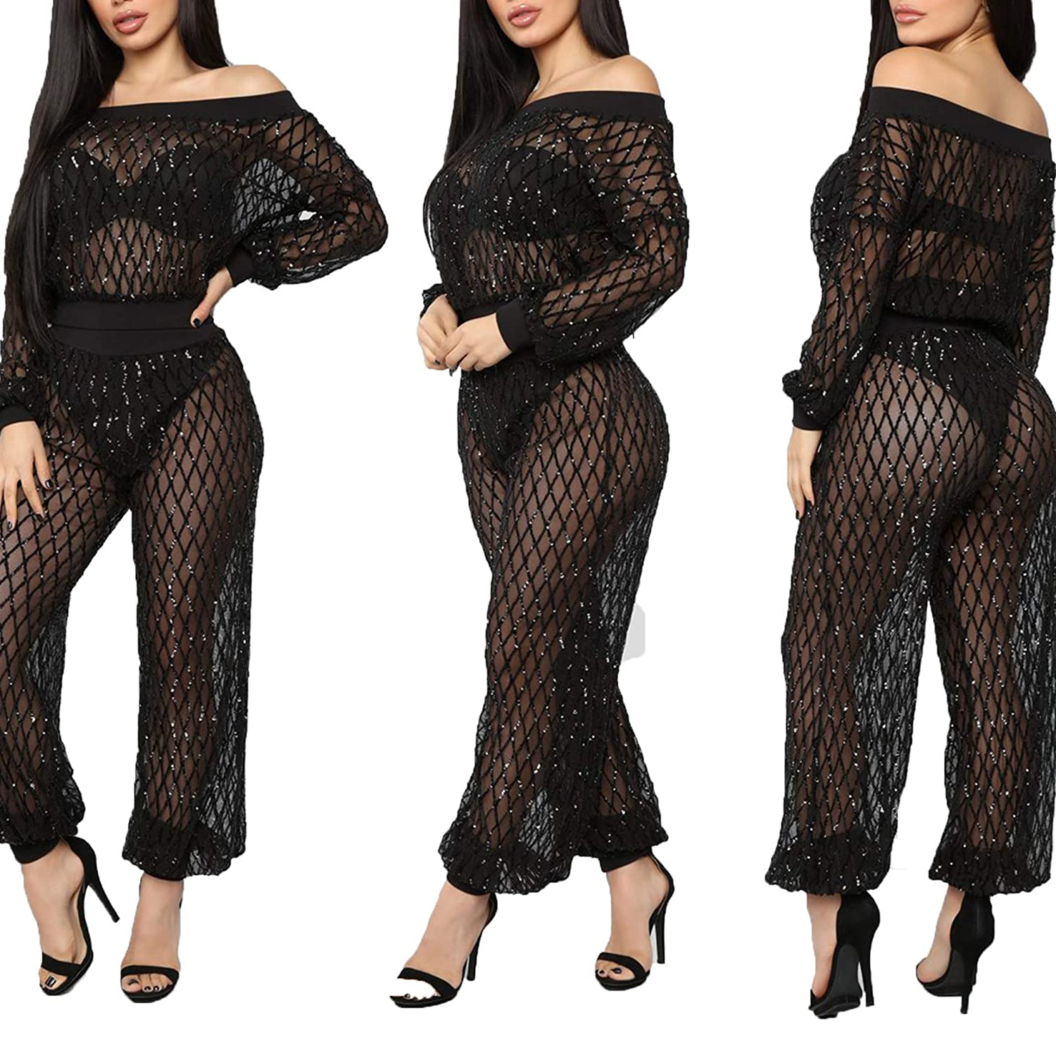 ce4485f0 Amazon.com: IyMoo Womens 2 Piece Sequins Outfits-Off Shoulder See Through  Mesh Long Sleeve Jumpsuits Clubwear: Clothing
