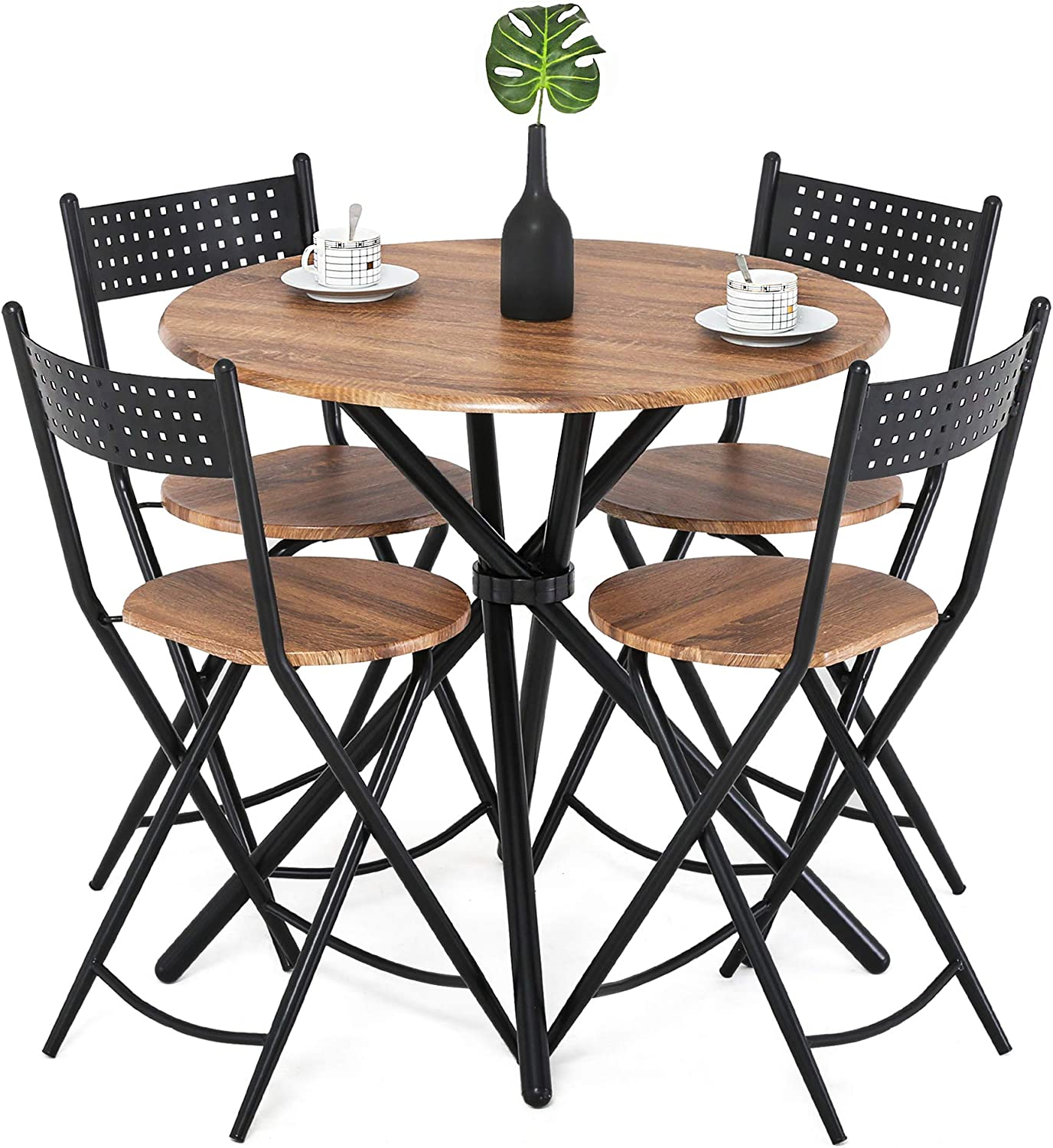 Homury 5pcs Dining Table Set Kitchen Table Kitchen Furniture Round Dining Table with 4 Round Dining Chair Dining Set Wood Coffee Table Set Home Office Table Set